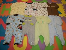 Lot 8 Baby Boy Footed Sleeper PJs Sleepwear Cloth Outfit 0-3 m month Little Me +