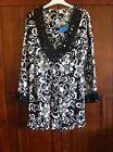 New Look Black White Beaded 100% Cotton Tunic Top Size 12 14 New with Tags