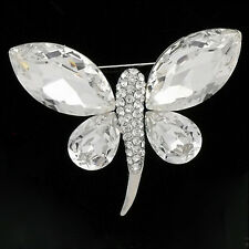 Luxury Butterfly Brooch Pin Clear Brown Crystal Bridal 14K GP Valentine's Day