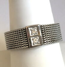 Silver Stainless Steel Mesh Band Ring Cubic Zirconia Eternity Size 11 USA Seller