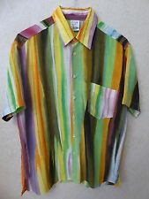 RARE VINTAGE 90'S MOSCHINO RAINBOW CHEAP AND CHIC SS SHIRT -  16.5 - LARGE
