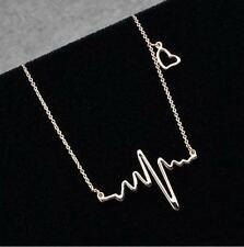 Lady Electrocardiogram Pendant Heartbeat Heart Rhythm ECG EKG Simple Necklace