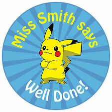 80 Personalised Teacher Reward Stickers for Pupils Pokemon Pikachu blue