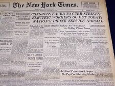 1946 JAN 15 NEW YORK TIMES - ELECTRIC WORKERS OUT TODAY, PHONES NORMAL - NT 2336