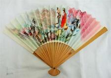 VINTAGE 1980's CHINESE BAMBOO  FAN & PRINTED PAPER FAN - LOVERS