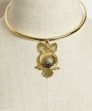 WOMEN'S FASHION GOLDPLATED OWL WITH RHINESTONE ACCENTS CHOKER NECKLACE NWT