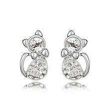 GORGEOUS 18K WHITE GOLD PLATED AND SWAROVSKI CRYSTAL CAT EARRINGS