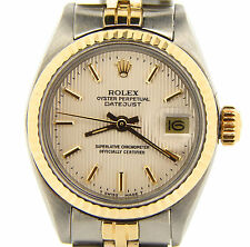 Ladies Rolex Datejust 14K Yellow Gold Stainless Steel Watch Silver Tapestry 6917