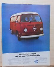 1971 magazine ad for Volkswagen - Station wagon free with every Campmobile