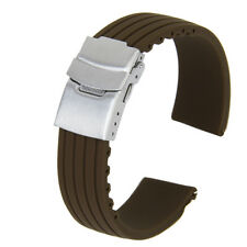 22mm Coffee Silicone Rubber Watch Strap Band Deployment Clasp Waterproof Sports