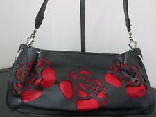 Black Red Rose Cut Out Design Leather Shoulder Hand Bag Purse Pocketbook 14x6
