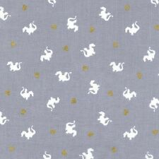 Fat Quarter Baby Dragon Magic Grey 100% Cotton Quilting Fabric Michael Miller