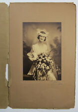 Vintage B&W Wedding Photograph of a Bride in Her Gown, Veil and Bouquet 1921