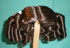 "doll wig dark brown 11"" to 11.5"" Glorex/Switzerland curls pinned up both sides"