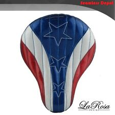 "16"" La Rosa American Flag Red White & Blue Harley Chopper Springer Solo Seat"