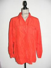 The Limited MEDIUM Red 100% Silk Soft Button Down Blouse Career Work
