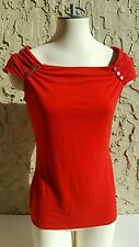 Womens WHBM Blouse, Red, Size S, Short Sleeves, Cap Sleeves, Buttons