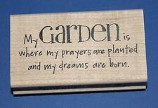 NEW Inkadinkado 'My Garden Is' Wooden Backed Rubber Stamp 97858LL