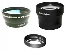 Wide + Tele Lens + Lens Hood with Adapter Ring Tube bundle for Fuji FujiFilm X10