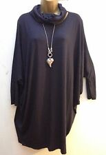 New Italian Lagenlook Purple Oversized Tunic Dress Top & snood 14 - 22