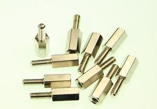 10 Pack Hexagonal Brass Stand Off Spacers 10mm long M3 3mm Male & Female threads