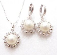 Women New White Gold Plated Shell Pearl Wedding Sun Hoop Earrings Necklace Set