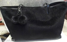 LADIES HAND BAG BLACK FUR-FAUX LEATHER-LIGHT WEIGHT