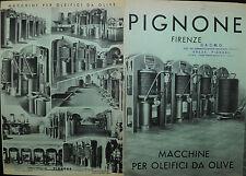 """PUBBLICITA' WERBUNG """" PIGNONE- FIRENZE : MACCHINE PER OLEIFICI DA OLIVE """""""