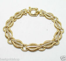 "7.25"" Italian Textured Circle Link Bracelet REAL 14K Yellow White Gold 10.8g"