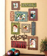 Unique Embossed Metal Collage Family Photo Frame Love Faith Wall Art Display New