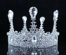 ELEGANT QUEEN CLEAR AUSTRIAN CRYSTAL RHINESTONE TIARA CROWN PAGEANT BRIDAL C2316