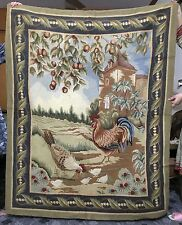 Handmade french original broderie laine travail tapis tapestry wall hanging