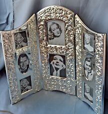 INTERNATIONAL Silverplate PHOTO FRAME Triptych Table Top  Holds 8 PICTURES