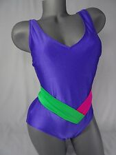 Vintage Swimsuit Shiny Neon Purple Pink size 12 Totally Rad