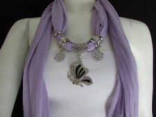 WOMEN FABRIC FASHION LAVANDER SCARF NECKLACE SILVER FLYING BUTTERFLY PENDANT