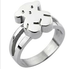 Stainless Steel Bear Ring Womens Silver/Gold Wedding Band Fashion Jewery Size6-9