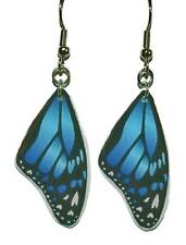 BEAUTIFUL BLUE HANDMADE BUTTERFLY WINGS DANGLE EARRINGS (D109)