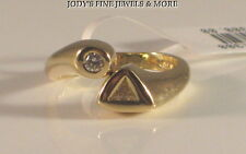 EXQUISITE JACKIE ESTATE 14K YELLOW GOLD TRILLION DIAMOND LADIES RING SIZE 7.5