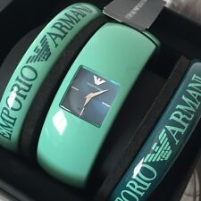 Emporio Armani AR7367 Ladies Torquoise Green Resin Bangle Watch Set 3pcs NWT Box