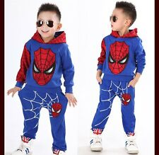 2PCS NEW Baby Boys long sleeve Spiderman Top+Pants Kids Casual Clothes 5-6 Years