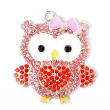 1pc New 47x42mm Owl Heart Rhinestone Alloy Pendant for Chunky Necklace DIY