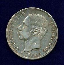 SPAIN ALFONSO XII 1884 (84) MS/DE -M 5 PESETAS SILVER COIN VF/XF