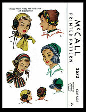 Girl's HATS WOOL JERSEY Fabric Sewing Pattern McCall #1572 Vintage Millinery 50s