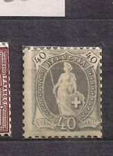 Switzerland stamps 1882 40c grey mint hinged cat $140