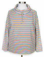 TALBOTS WOMEN'S MULTICOLOR STRIPE LONG SLEEVE DRAWSTRING COWL NECK PULLOVER 2X
