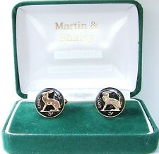 No Date IRISH HARE Cufflinks made from old IRELAND  coins in Black & Gold