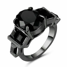 Luxury Jewellry Size 6 Black Sapphire 18K Black Gold Filled Women's Wedding Ring