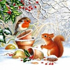 20 x Table Paper Napkins/Decoupage/Dining/Christmas/Robin and Squirrel