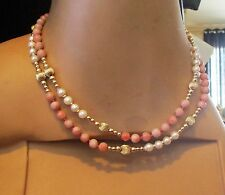 Vintage Unpolished Natural Angel Skin Coral Bead and Pearl Necklace 14k. 33 In.