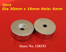 3pcs Rare Earth Neodymium Disc Ring Magnet N52 30mm x 10mm Countersunk Hole 6mm